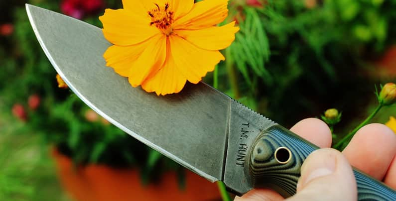 taking care of your garden with survival knife