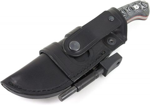 MOVA-58 Survival Knife With Genuine Leather Horizontal-Vertical Belt Sheath + Firesteel